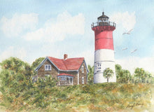 Load image into Gallery viewer, Nauset Lighthouse tea towel Nauset Light painting New England lighthouse art kitchen decor Cape Cod lighthouse painting watercolor cottage - Leigh Barry Watercolors
