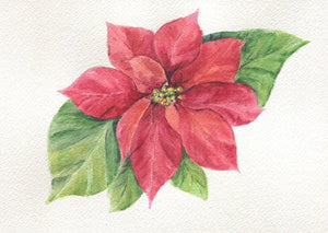 Poinsettia Tea Towel Christmas tea towels  kitchen decor Christmas floral painting art - Leigh Barry Watercolors