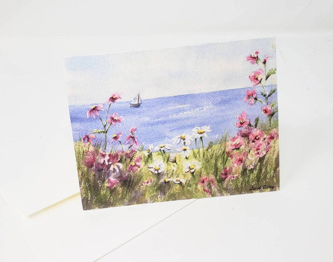 Sailing By Coastal Notecards Blank notecards sailboat notecards floral beach art blank beach cards ocean watercolor notecards note cards - Leigh Barry Watercolors
