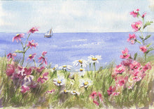 Load image into Gallery viewer, Sailing By Tea Towel Floral Seaside Kitchen towels cottage kitchen decor New England watercolor gift seaside painting watercolor - Leigh Barry Watercolors