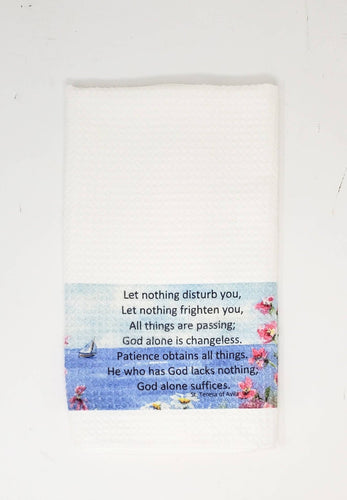 St. Teresa's Bookmark Tea Towel Let Nothing Disturb You Inspirational Quote kitchen towel saint quote inspirational gift Christian gift - Leigh Barry Watercolors