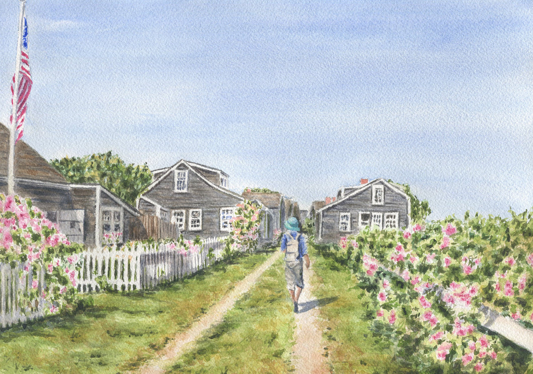 Sconset Bluff Walk: Nantucket watercolor print Cape Cod art 'Sconset Cliff Walk Nantucket art print Cape Cod painting Nantucket painting - Leigh Barry Watercolors