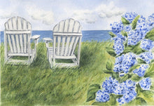 Load image into Gallery viewer, Nantucket Seaside Tea Towel Nantucket Kitchen towel hydrangeas art adirondack chair art hydrangeas tea towel Nantucket gift Nantucket art - Leigh Barry Watercolors