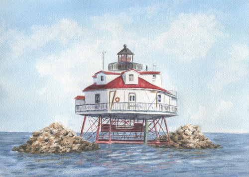 Thomas Point Lighthouse Watercolor Print Or Original Painting Giclee Print art coastal print - Leigh Barry Watercolors