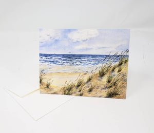 Windy Day Beach Dune Notecards Beach watercolor notecards ocean art painting blank notecards greeting cards stationary beach cards - Leigh Barry Watercolors