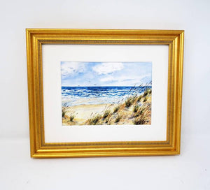Windy Day: Beach Watercolor Giclee Print or Original Watercolor Beach Decor Ocean Dunes Painting Beach Decor Seashore Beach Dunes