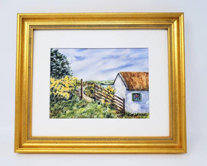 Ireland Farm: Irish landscape painting, Irish art print, Irish gift, Ireland landscape, Irish cottage print, Ireland cottage art, Gaelic art