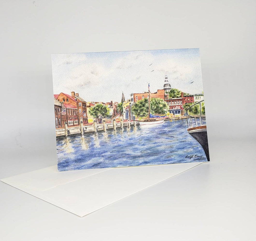 Annapolis notecards, Annapolis gift, Annapolis cards, Annapolis Maryland gift, nautical notecards, naval academy gift, Maryland art painting