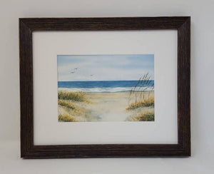 Beach Grass:watercolor painting beach decor ocean painting gift idea beach print ocean print Leigh Barry framed art wall decor summer art