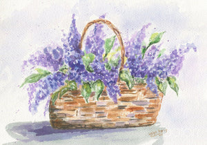 Basket of Lilacs original watercolor painting purple floral print framed wall decor wedding gift bathroom - Leigh Barry Watercolors