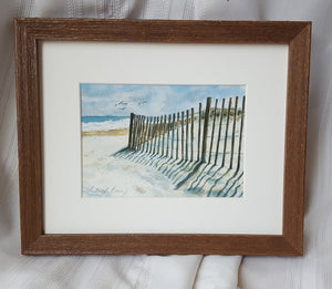 Beach watercolor painting - beach landscape painting - ready to hang wall art - ocean watercolor - beach decor wall art - Fenwick Island - Leigh Barry Watercolors