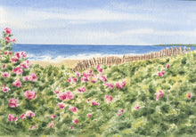 Load image into Gallery viewer, Beach Roses: watercolor painting roses ocean seaside home decor beach decor giclee print archival framed art floral beach pink green - Leigh Barry Watercolors