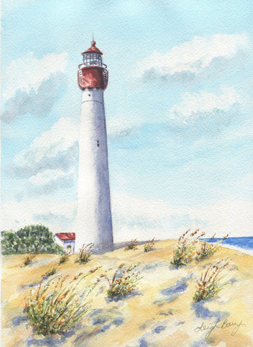 Cape May Lighthouse, New Jersey shore: Original watercolor painting beach house decor lighthouse painting watercolor beach print beach decor - Leigh Barry Watercolors