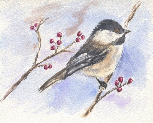 Black capped chickadee: bird painting bird watercolor chickadee painting bird art giclee print archival print bird painting snow painting - Leigh Barry Watercolors