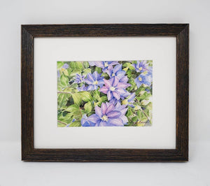Clematis: Original watercolor painting or giclee print watercolor floral print framed floral print Leigh Barry Watercolors purple flower - Leigh Barry Watercolors