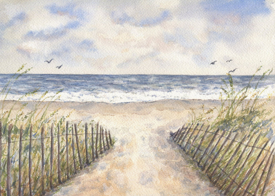 Cloudy Day: beach painting beach art original watercolor ocean watercolor giclee print archival print ocean painting original painting decor - Leigh Barry Watercolors