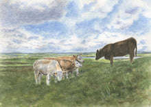Load image into Gallery viewer, Irish Cows Watercolor Prints, Ireland landscape painting, Leigh Barry Watercolors, Irish art print Irish landscape watercolor print framed Irish gift