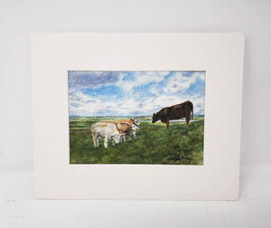 Irish Cows Watercolor Prints, Ireland landscape painting, Leigh Barry Watercolors, Irish art print Irish landscape watercolor print framed Irish gift - Leigh Barry Watercolors