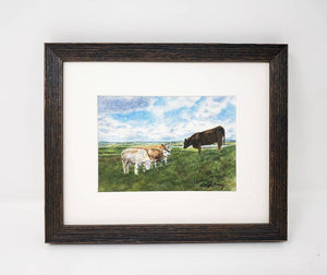 Irish Cows Watercolor Prints, Ireland landscape painting, Leigh Barry Watercolors, Irish art print Irish landscape watercolor print framed Irish gift