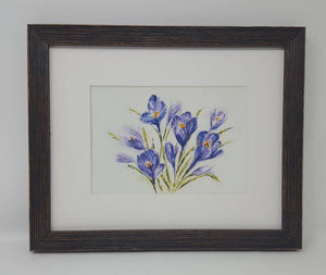 Crocuses: spring flowers spring floral watercolor flower print purple floral painting floral giclee print framed watercolor spring colors - Leigh Barry Watercolors
