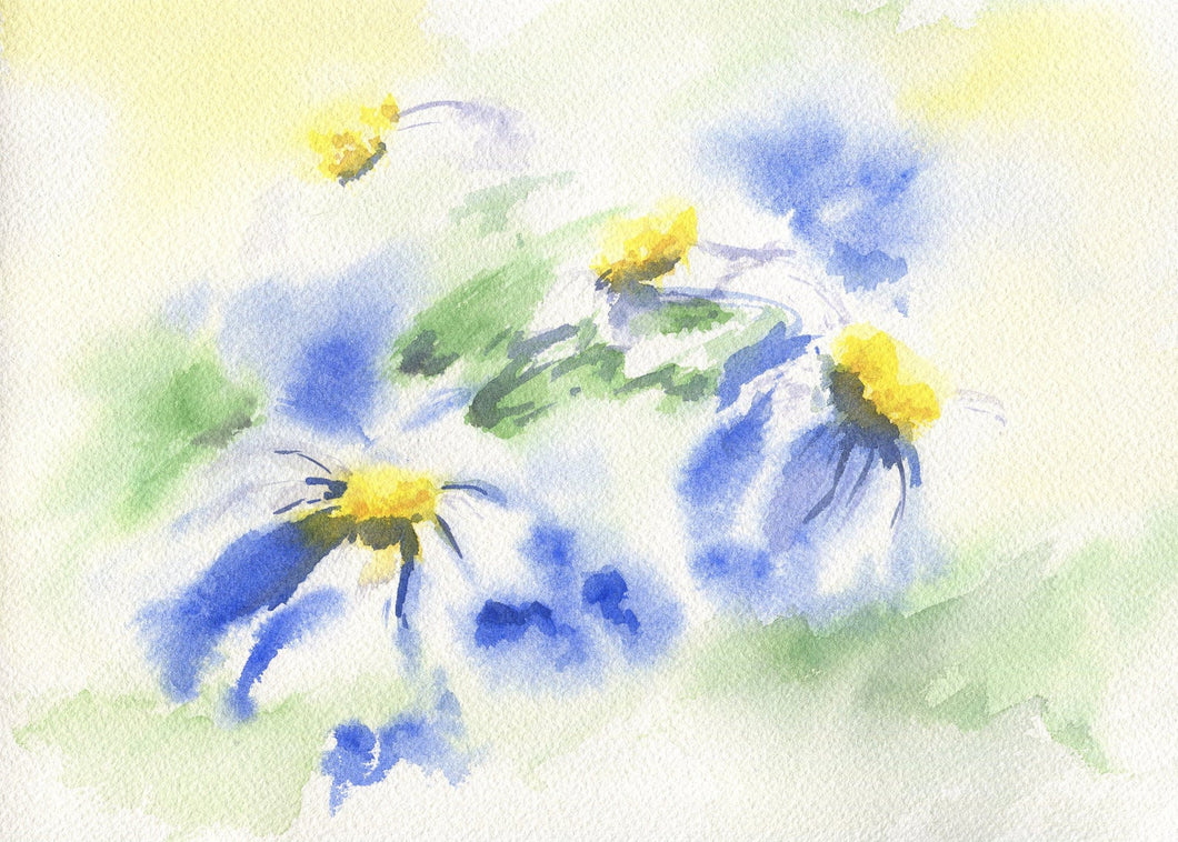 Daisies original watercolor paintings floral watercolor flowers print flower painting daisy painting wall decor home decor blue yellow