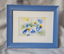 Load image into Gallery viewer, Daisies original watercolor paintings floral watercolor flowers print flower painting daisy painting wall decor home decor blue yellow