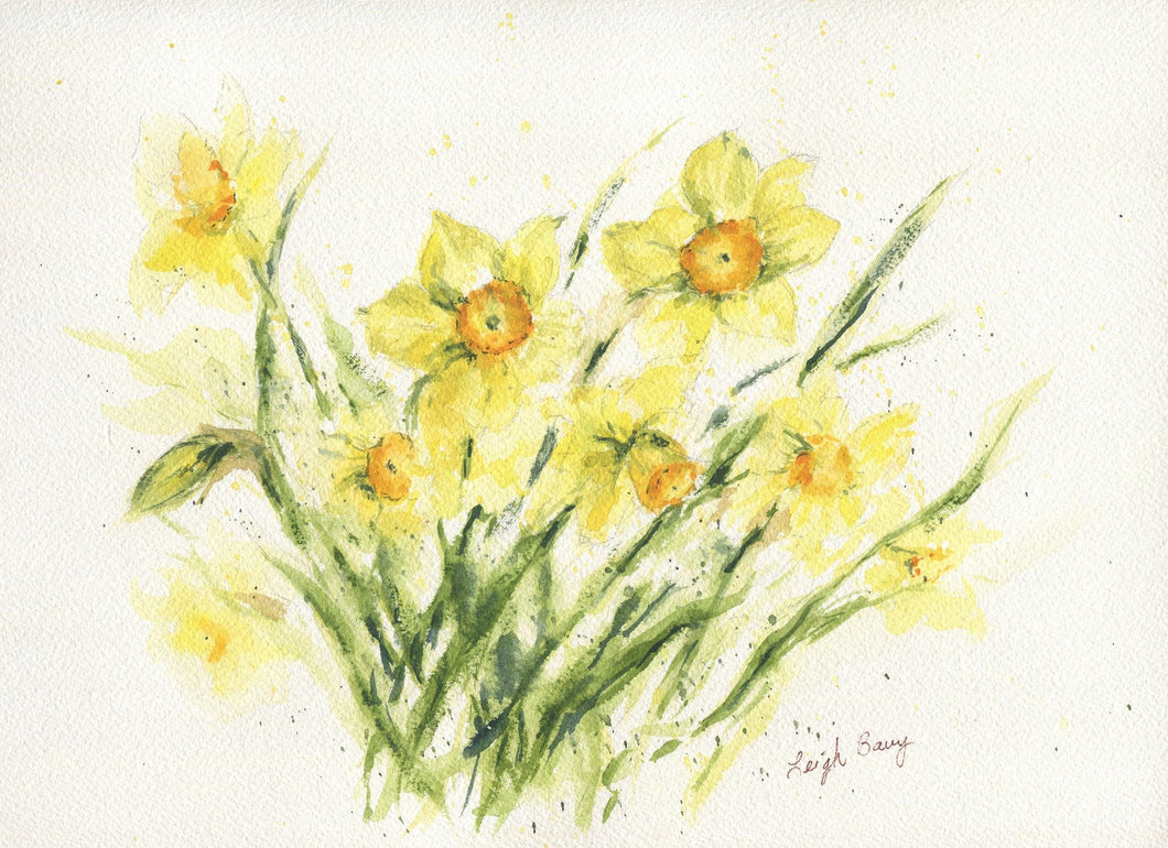 Daffodils: watercolor flowers floral watercolor painting framed watercolor floral spring floral yellow floral gift ideas daffodil print - Leigh Barry Watercolors