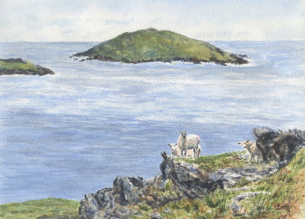 Dingle Peninsula Irish landscape painting Ireland landscape print framed sheep art Irish art seascape painting Irish sheep painting farm - Leigh Barry Watercolors
