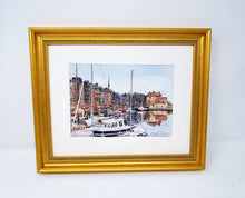 Load image into Gallery viewer, Honfleur France Honfleur Harbor Watercolor Painting Print or Original Vieux Basin Leigh Barry Watercolors - Leigh Barry Watercolors