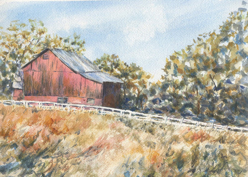 Fallston: Red barn painting watercolor painting country scene framed art autumn print landscape wall decor barn print Leigh Barry Watercolors - Leigh Barry Watercolors