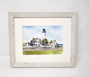 Fenwick Island Lighthouse: watercolor original painting lighthouse painting beach decor ocean painting watercolor lighthouse print framed - Leigh Barry Watercolors