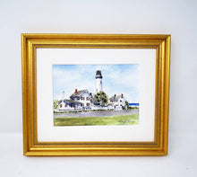 Load image into Gallery viewer, Fenwick Island Lighthouse: watercolor original painting lighthouse painting beach decor ocean painting watercolor lighthouse print framed - Leigh Barry Watercolors