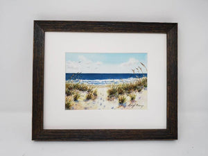 Footprints: watercolor ocean painting print beach watercolor painting framed sand dunes and ocean print framed beach wall decor original art - Leigh Barry Watercolors