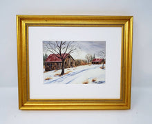 Load image into Gallery viewer, Gray Skies: Winter landscape painting snowy barn painting watercolor barn art farmhouse wall decor framed barn painting winter art print - Leigh Barry Watercolors