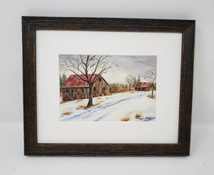 Gray Skies: Winter landscape painting snowy barn painting watercolor barn art farmhouse wall decor framed barn painting winter art print - Leigh Barry Watercolors