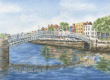 Load image into Gallery viewer, Halfpenny Bridge Dublin Ireland Watercolor Prints or Original Painting River Liffey Dublin print Irish art Ireland landscape Dublin Art - Leigh Barry Watercolors