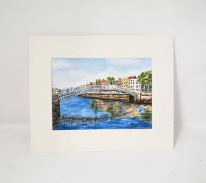 Halfpenny Bridge Dublin Ireland Watercolor Prints or Original Painting River Liffey Dublin print Irish art Ireland landscape Dublin Art - Leigh Barry Watercolors