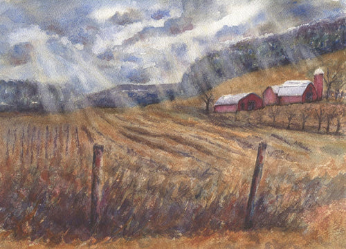 After The Harvest: Fall harvest barn watercolor red barn fall watercolor sunlight painting harvest painting framed art red barn painting art - Leigh Barry Watercolors