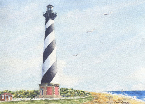 Cape Hatteras Lighthouse painting Outer Banks original watercolor North Carolina coastal painting beach wall art - Leigh Barry Watercolors