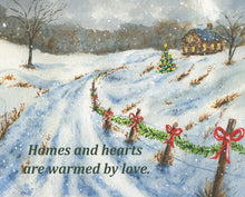Load image into Gallery viewer, Homes And Hearts: Christmas Art Print Christmas Wall Art Christmas Decor Winter Art Painting Snowy night Inspirational saying framed print - Leigh Barry Watercolors