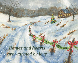 Homes And Hearts: Christmas Art Print Christmas Wall Art Christmas Decor Winter Art Painting Snowy night Inspirational saying framed print - Leigh Barry Watercolors
