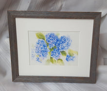 Load image into Gallery viewer, Hydrangeas 1: floral watercolor home decor wall decor blue flowers giclee print framed art hydrangeas original art watercolor floral print - Leigh Barry Watercolors