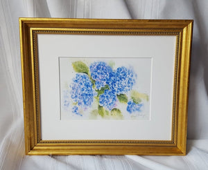 Hydrangeas 1: floral watercolor home decor wall decor blue flowers giclee print framed art hydrangeas original art watercolor floral print - Leigh Barry Watercolors