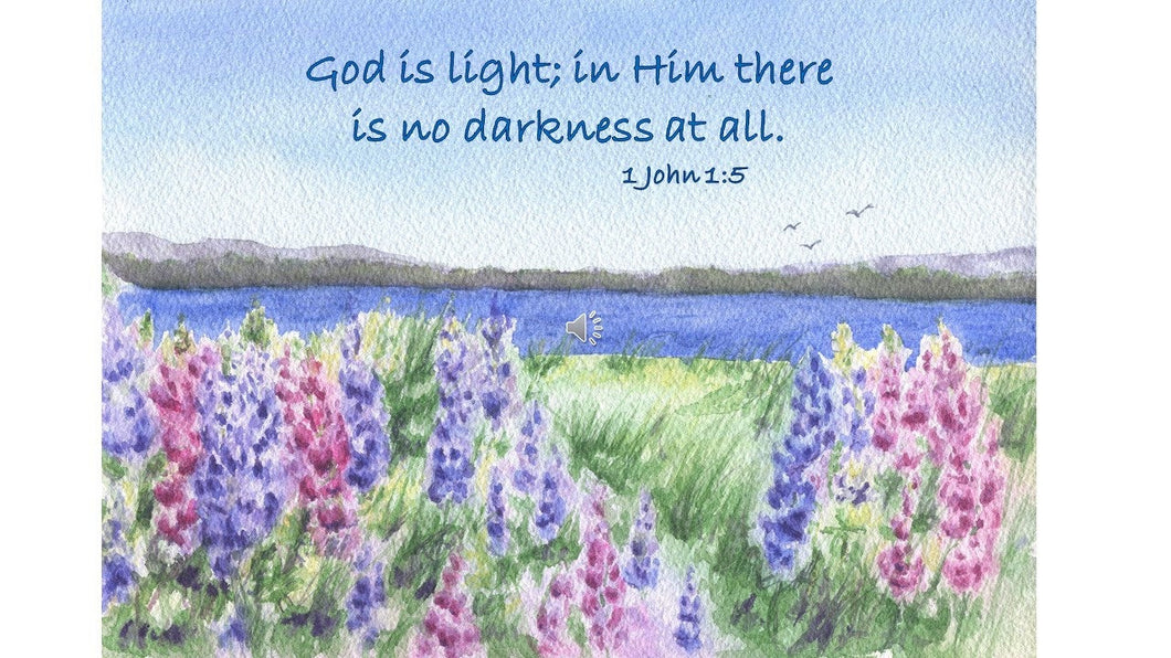 God Is Light digital download Bible quote Christian wall art inspirational art print instant download digital inspiration painting lupine - Leigh Barry Watercolors