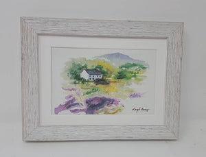 Framed Mini County Kerry: Giclee print Ireland painting print Irish cottage watercolor miniature landscape watercolor print Irish art