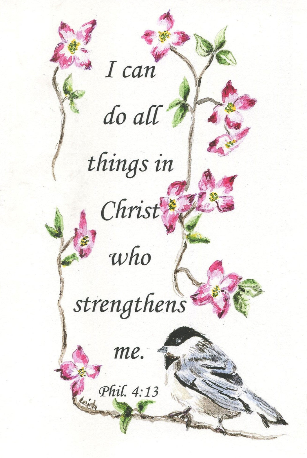 I Can Do All Things - digital download art Phil. 4 watercolor painting Christian art inspirational art download inspirational bible quote - Leigh Barry Watercolors