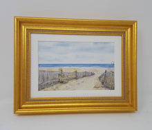 Load image into Gallery viewer, Framed Mini Beach Path:small framed watercolor ocean print beach path painting ocean painting print beach decor wall art cottage wall decor - Leigh Barry Watercolors