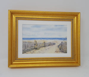 Framed Mini Beach Path:small framed watercolor ocean print beach path painting ocean painting print beach decor wall art cottage wall decor - Leigh Barry Watercolors
