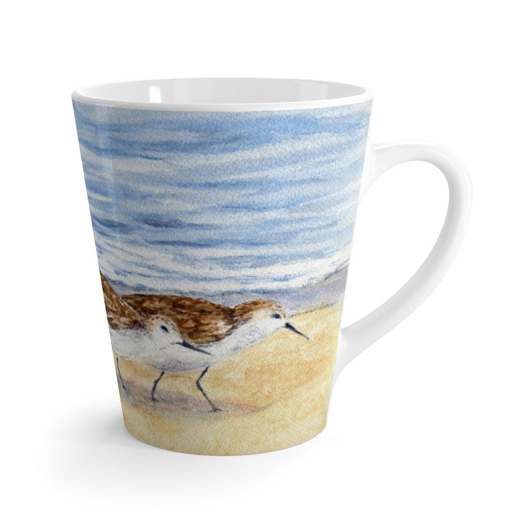Sandpiper Latte Mug original art mug beach decor coffee mug Leigh Barry Watercolors beach drinkware 12 oz coffee mug bird coffee mug - Leigh Barry Watercolors