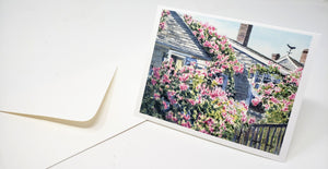 Nantucket notecards Rose Covered Cottage watercolor Cape Cod  Sconset Nantucket roses greeting cards thank you notes art blank notecards - Leigh Barry Watercolors